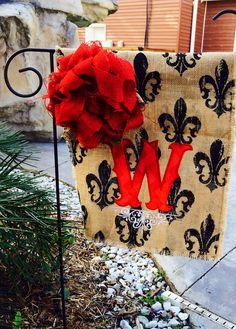 Custom Fleur De Lis Monogram Burlap Garden Flag Pick Your Color