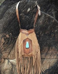 My favourite Buffalo Girl bag. Tan leather, fringe, suede and turquoise. It doesn't get any better!