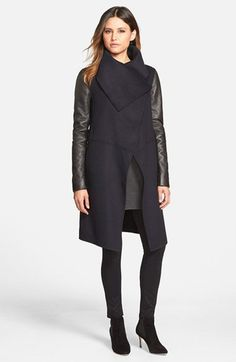 Wool leather blend coat