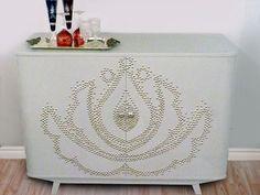 Nail Head Trim on cabinet - DIY