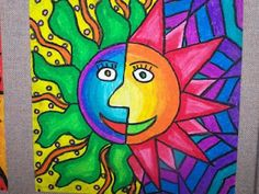 Aztec Suns Warm Vs Cool Color Schemes Oil Pastels And Blending Colors Art EducationSchool ProjectsOil