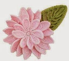 Stunning double flower and leaf crochet pattern/diagram. More Great Looks Like This