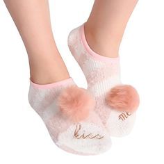 Women Pink Cute Soft Warm Fuzzy Striped Slipper Socks Ankle Non Slip Grip Indoor House Socks