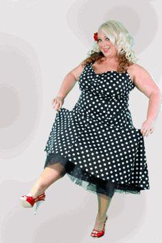 Plus Size Halter Dress|Rockabilly|Pin Up|Polka Dot|