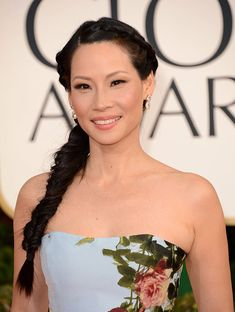 Lucy Liu's fishtail braid at the Golden Globes