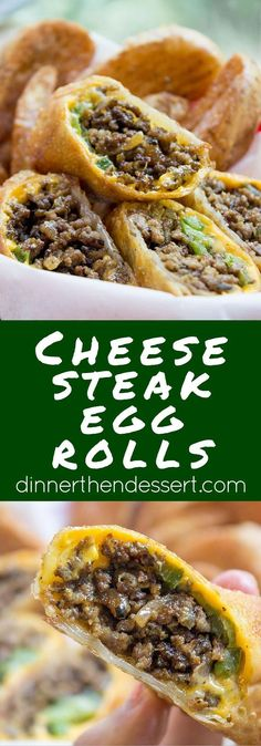 Cheesesteak Egg Rolls have all the flavors of classic Philly Cheese Steak Sandwiches in a crispy shell and made with ground beef so they're easy and cheap!
