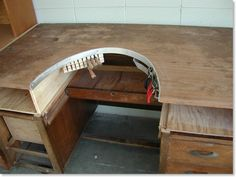FrankenBench - How to Make a great Jewelry Bench from an old desk! Brilliant!! I wonder if we could cut it down, though...