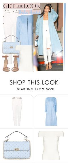 """""""Bella Hadid"""" by oshint ❤ liked on Polyvore featuring Chloé, ADAM, Valentino, Hervé Léger, Gianvito Rossi, amazing, white, babyblue, bluedenim and bellahadid"""