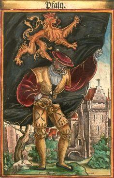 """Pfalzgraf bei Rhein [Pfalz] (= Palatinat) (f°7) -- Koebel, Jacob, """"Wapen des heyligen römischen Reichs teutscher Nation"""", Franckfurth am Main, 1545 [BSB Ms. Rar. 2155]"""