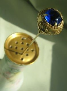 Victorian Hatpin * Gold with Cobalt Faceted Faux Stone