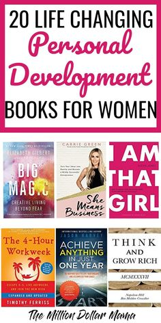 20 Life Changing Personal Development Books for Women Life Changing Personal Development Books for Women – These 20 personal development books have given me the motivation and determination to succeed in business! They& all a must-read in my opinion! Book Club Books, Book Lists, Good Books, Big Books, Reading Books, Motivational Books, Inspirational Books, 5am Club, Best Self Help Books