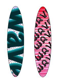 wave surfboard designs using pen markings
