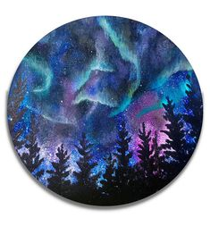 Northern Lights, Northern lights art, Galaxy painting, Northern lights painting, Aurora Borealis, night sky Painting, round wall art, Starry night Of all the natural phenomena in the world, nothing compares to the enigmatic light show of the Aurora Borealis. More commonly known as the