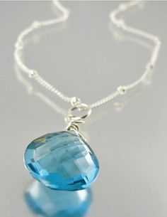 London Blue Topaz Pendant Necklace - something blue for #wedding
