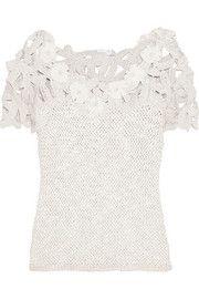 Oscar de la RentaCrochet-knit silk top