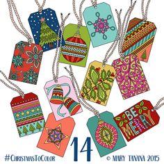 © Mary Tanana 2015 Christmas to Color-Gift Tags
