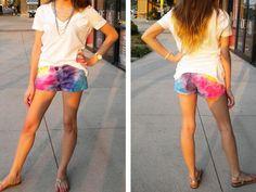 """DIY Clothes DIY Refashion: DIY : Tie Dye Shorts €"""" College Fashion"""
