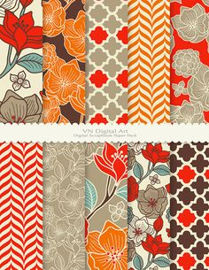 "Digital Paper, Floral Pattern Digital Scrapbook Paper Pack (8.5x11""-300 dpi) -- Instant Download -- 10 Digital papers -- 476"