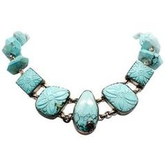Stephen Dweck Sterling Silver Carved Turquoise Toggle Necklace