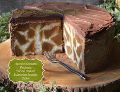 Hidden Giraffe pattern in a twice baked surprise inside cake!