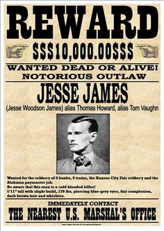 """""""Jesse James"""" Fantastic Western Style Wanted Poster sold by Andromeda Print Emporium. Shop more products from Andromeda Print Emporium on Storenvy, the home of independent small businesses all over the world. Westerns, Jessy James, James 1, Vintage Photographs, Vintage Photos, Old West Outlaws, Famous Outlaws, Old West Photos, Le Far West"""