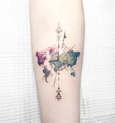 Watercolor world map tattoo google search random stuff i love minus the compass gumiabroncs