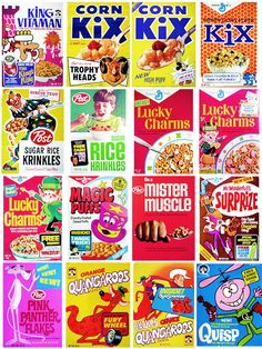 fun graphics.  we never ate most of these cereals- with a few exceptions-- KIX were always a favorite... but the other sugary, colored ones my mom didn't get for us (thanks mom!!)---  but the design and graphic quality of the boxes is a lot of fun!