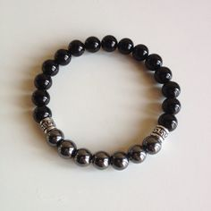 Harmony - Men's Genuine Sterling Silver Hematite & Black Onyx Bracelet - Positive Energy