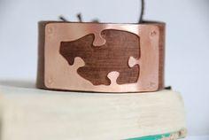 Brass Puzzle Piece Upcycled Leather Bracelet