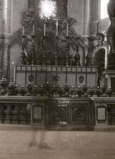 Church Ghost. St. Peter's altar in Rome. The shoes of the ghost that is captured appears to be out of the 18th century.