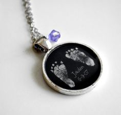 So cute! Custom baby foot print necklace.