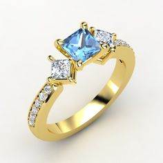 The Caroline Ring #customizable #jewelry #topaz #diamond #gold #ring