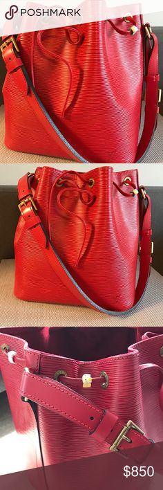 Authentic Louis Vuitton Red Epi Leather Petit Noe A Beautiful and Gorgeous piece from LV's Epi Leather collection! Made in the U.S.A Like new barely used. Clean exterior and interior lining. Adjustable shoulder strap handle drop. Including 3 Hello Kitty clips to add cuteness😉 purchased from LV, Copley Plaza, in Boston. Louis Vuitton Bags Shoulder Bags