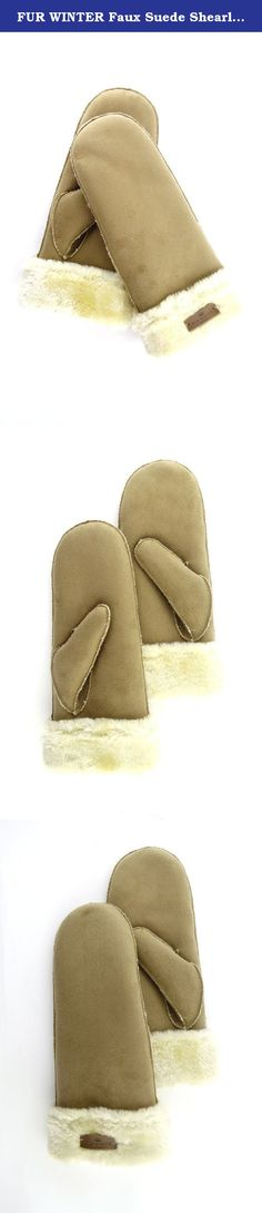 FUR WINTER Faux Suede Shearling Sheepskin Womens Mittens Gloves KHK M. FUR WINTER, Since 1955.
