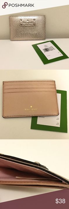Kate Spade Rosegold Wallet This Kate Spade wallet comes in a gorgeous (though tough to do justice in photographs!) rose gold color and retails for $48 -- NWT, KS Care Card, and four pockets for cash and cards. I don't trade, but reasonable offers are welcome! Happy Poshing! kate spade Bags Wallets