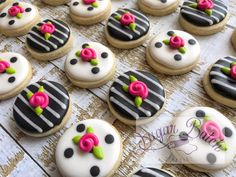2 Dozen Mini Kate Spade Polka Dot/Stripe Decorated Cookies Set - Paige's Home Mini Cookies, Flower Cookies, Sugar Cookies, Lace Cookies, Kate Spade Bridal, Birthday Cookies, 40th Birthday, Cookie Decorating, Decorating Ideas