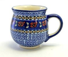 Large Belly Mug (Crimson Twilight) High-Quality Polish Stoneware from the largest supplier in the western United States - The Polish Pottery Outlet in Englewood, CO