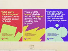 Spotify Campaign by Christopher Doyle & Co. — The Brand Identity Spotify Advertising, Spotify Billboards, Poster Ads, Advertising Poster, Creative Advertising, Advertising Design, Charity Branding, Corporate Branding, Web Banner Design