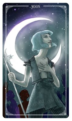 The Moon - The Moon is a card which draws on the subconscious.  With the Moon we look to our shadow selves for guidance.  If you are feelings lost or uncertain about decisions use your dreams and intuition to guide you.  However do not allow yourself to be deceived by your darkest feelings, fears or fantasies. - EdenYou can PRE-ORDER the deck here!