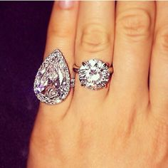 Lilly Ghalichi ring on the left  Jennifer Stano's ring on the right. Both gorgeous engagement rings..