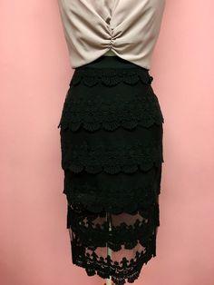 Falda midi negra con transparencia - OH MY! STORE