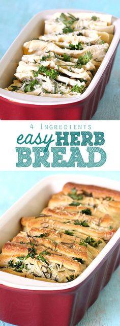 Easy Parmesan Herb Bread with 4 Ingredients