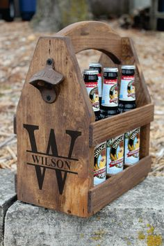 Handcrafted rustic wood beer tote, personalized with a large monogram letter. Caddy come with rustic opener and personalized brewery logo on