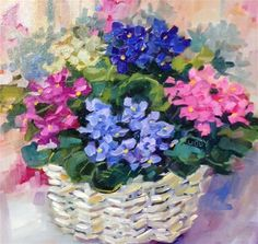 "Daily Paintworks - ""VIOLET BASKET"" - Original Fine Art for Sale - © Libby Anderson"