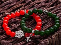 Valentines Day Bead Bracelets Natural Green by NaturalBeadsByMissD