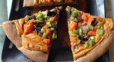 Sweet Potato Veggie Pizza | Tom Fronczak for Fat-Free Vegan Kitchen | This fat-free #vegan #recipe is easily customizable to your taste preferences. Have fun with your food. :-)
