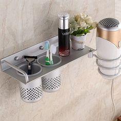 Accessory Space Aluminum Bathroom Shelf Hair Dryer Rack With 2 Cups Hair Dryer Rack Households Rack Hair Blow Dryer Holder #Affiliate
