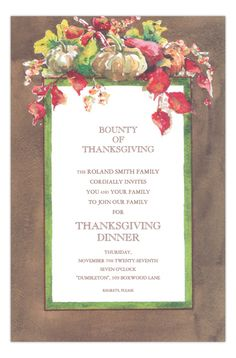Autumn Array Thanksgiving Pumpkin Party Invitation from Odd Balls at www.PolkaDotDesign.com
