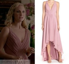 Candice Accola / Caroline Forbes pink chiffon dress in The Vampire Diaries - The Simple Intimacy of The Near Touch Pink Chiffon Dress, Pink Evening Dress, Pink Dress, Evening Dresses, Caroline Forbes, Prom Outfits, Dress Outfits, Fashion Outfits, Style Fashion