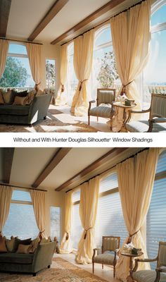Transform harsh sunlight into gentle diffused beauty with Silhouette® window shadings. ♦ Hunter Douglas window treatments #LivingRoom